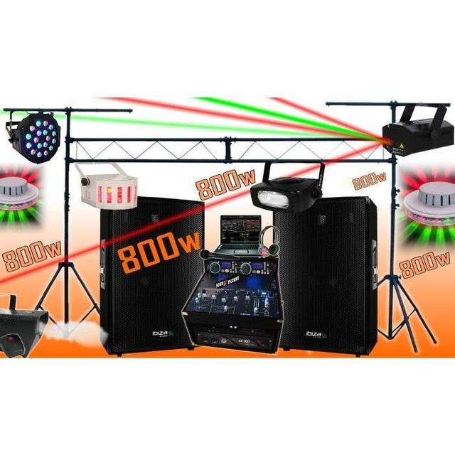Ibiza Sound Sono complète 800w avec enceintes sono ampli double lecteur cd mixage micro dj casque - la totale pa dj