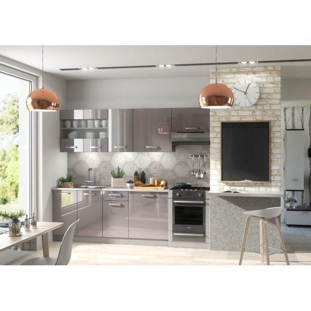Baltic Meubles Meubles Cuisine complète Dana gris laqué - 2m40 - 7 meubles - Moinschercuisine