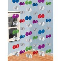 Party2u - Guirlandes anniversaire verticales 60 ans x6