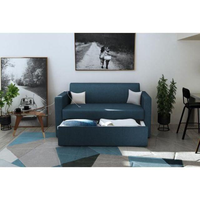 CANAPE - SOFA - DIVAN GREENSOFA Canapé fixe 2 places - coffre de rangement avec tiroir MALMO - Bleu Marine