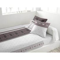 Marque Generique - Parure de lit 4 pièces en flanelle Neige Blanc 2 personnes