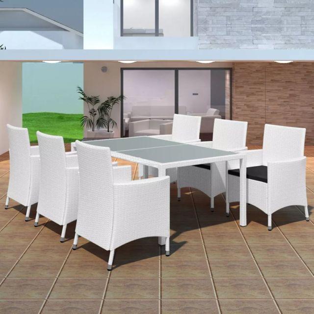Stylé Meubles de jardin famille Tunis Jeu de mobilier de jardin 13 pcs  Blanc crème Résine tressée