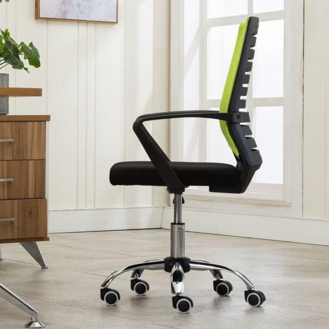 Wewoo Accueil Loisirs Ordinateur Chaise de bureau Personnel de noire Cadre de levage Pied en acier Vert