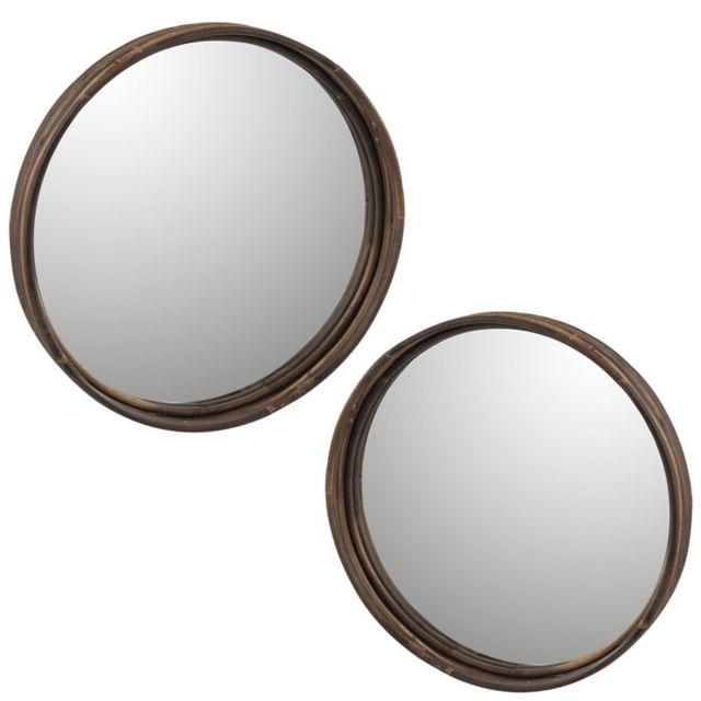Tousmesmeubles Duo de Miroirs Rotin marron taille M - Minianka