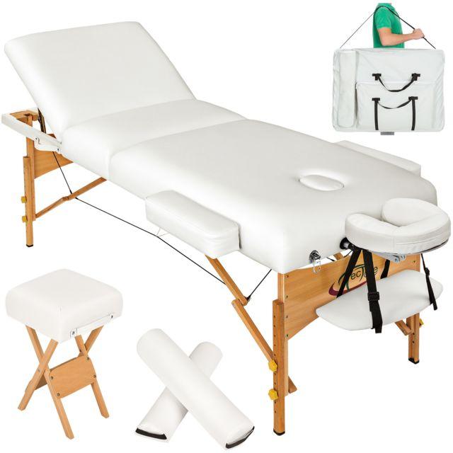 Tectake Table De Massage Pliante 3 Zones 13 Cm D Epaisseur Blanc