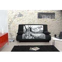 Relaxima - Banquette-lit City Noir - Matelas Dunlopillo - Lit 2 places