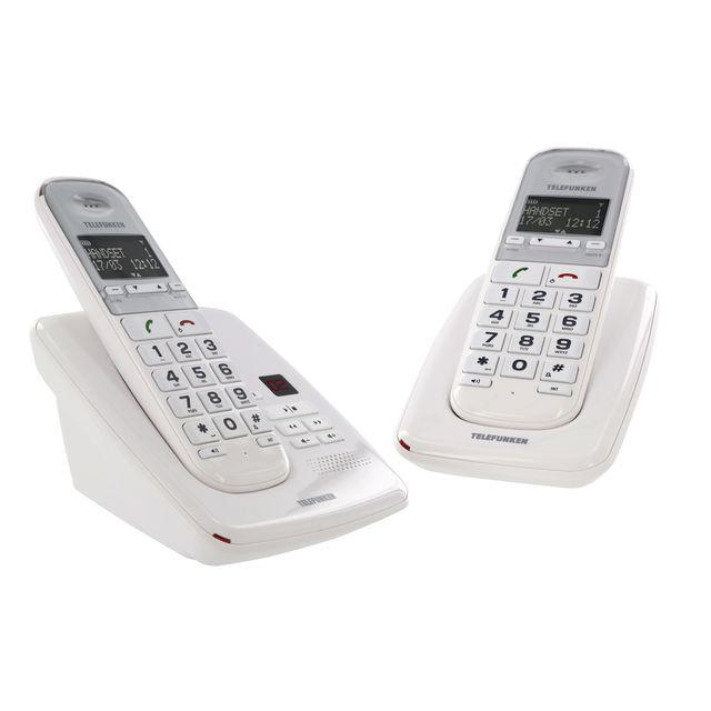 telefunken t l phone fixe sans fil avec r pondeur td 352 pillow duo blanc pas cher achat. Black Bedroom Furniture Sets. Home Design Ideas