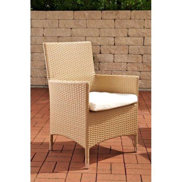 Joli chaise de jardin rotin, de salon Téhéran/Avignon/Tropea/Florenz creme blanc