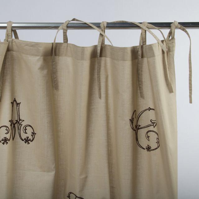 Mon Beau Tapis - Rideau Monogramme à lacets 110x250cm, Nature/Marron ...