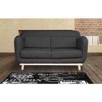 Canapé 2 places fixes pieds bois en tissu - coloris anthracite noir