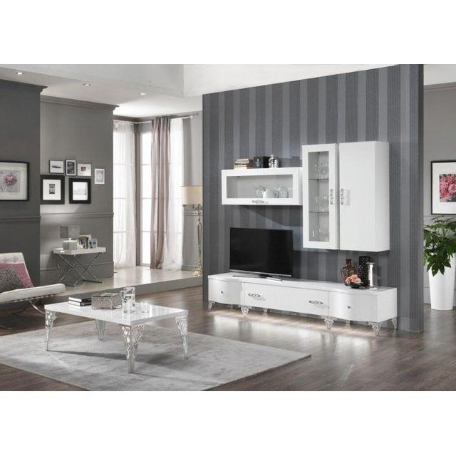 Comforium ensemble salon design complet avec vitrines murales coloris blanc laqué