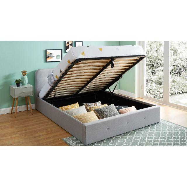 homifab lit coffre 140x190 cm gris clair avec t te de lit sommier lattes collection kate. Black Bedroom Furniture Sets. Home Design Ideas