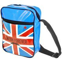 Promobo - Sacoche Besace Imprimé London Forever Drapeau Royaume Uni Idéal Tablette Appareil Photo Bleu