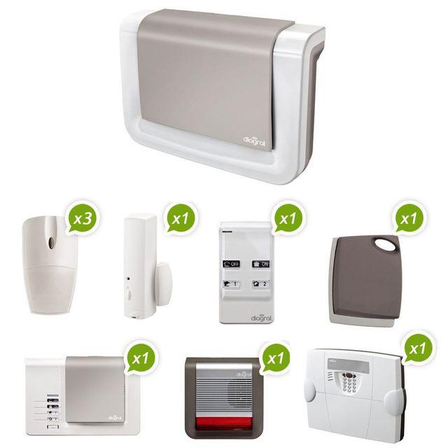 diagral diag01bsf pack alarme maison sans fil pas cher achat vente alarme rueducommerce. Black Bedroom Furniture Sets. Home Design Ideas