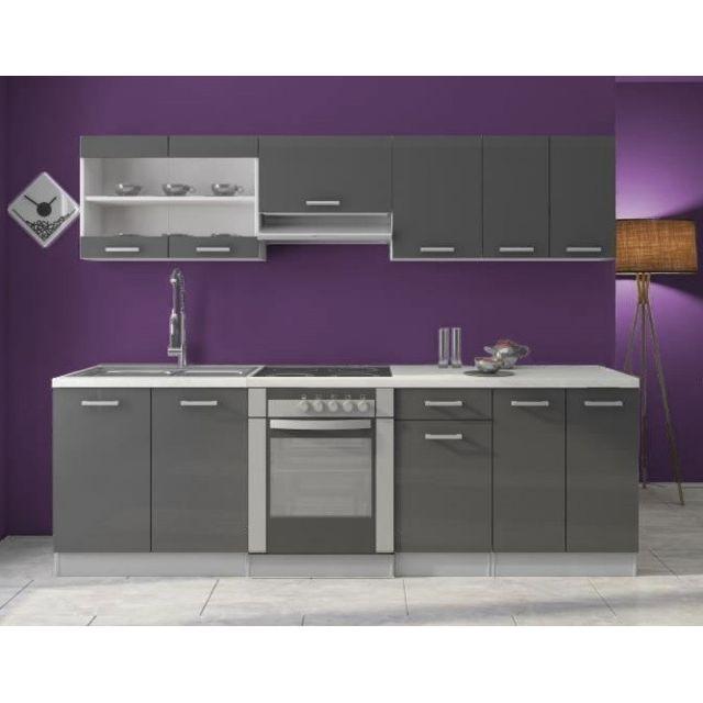 Baltic Meubles Cuisine Dana gris laqué - 2m40 - 8 meubles