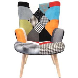 the home deco factory fauteuil design color patchwork multicolore pas cher achat vente. Black Bedroom Furniture Sets. Home Design Ideas