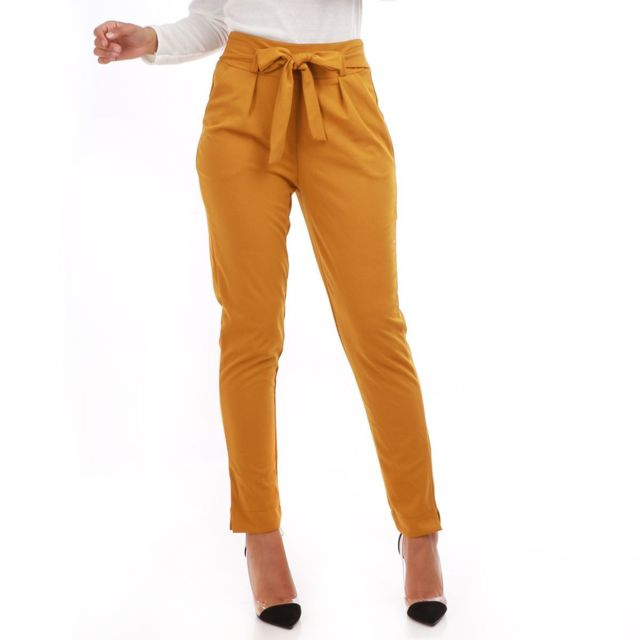 correspondant en couleur juste prix prix compétitif Lamodeuse - Pantalon chino jaune foncé avec ceinture - pas ...