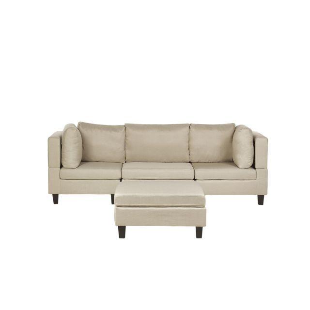 BELIANI Canapé modulable 3 places en tissu beige avec pouf ottoman FEVIK - beige