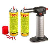 Kemper - Chalumeau de cuisine professionnel + 2 recharges gaz - Micro torche à allumage piezo- débit de gaz réglable