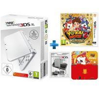 New 3DSXL Blanc Perle + Yo-Kai Watch 2 Fantômes Bouffis - 3DS + BLOC ALIMENTATION 3DS DSI XL ET DSI + Protecteur Duraflexi Jibanyan Yo-Kai Watch
