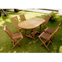 Kajang : Salon de jardin 6/8 pers. 6 chaises + table ovale