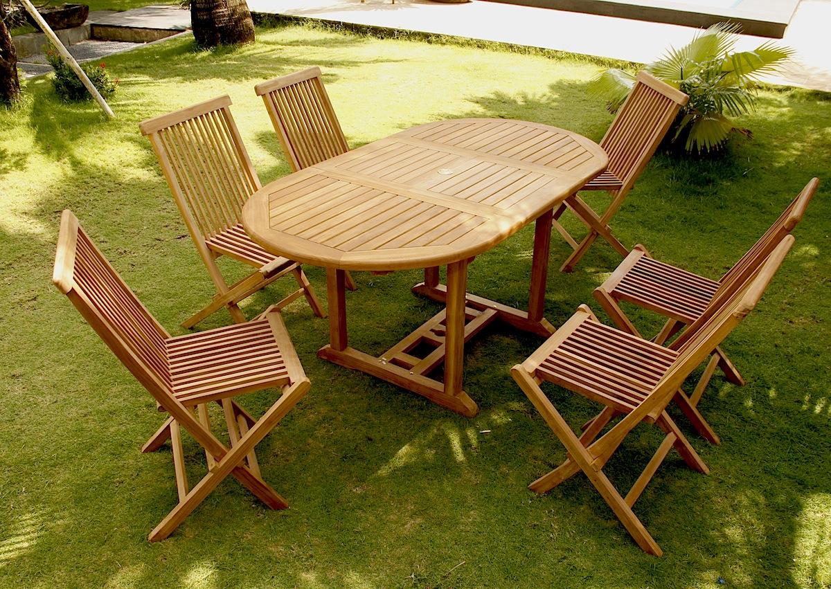 Kajang : Salon de jardin 6/8 pers. 6 chaises + table ovale