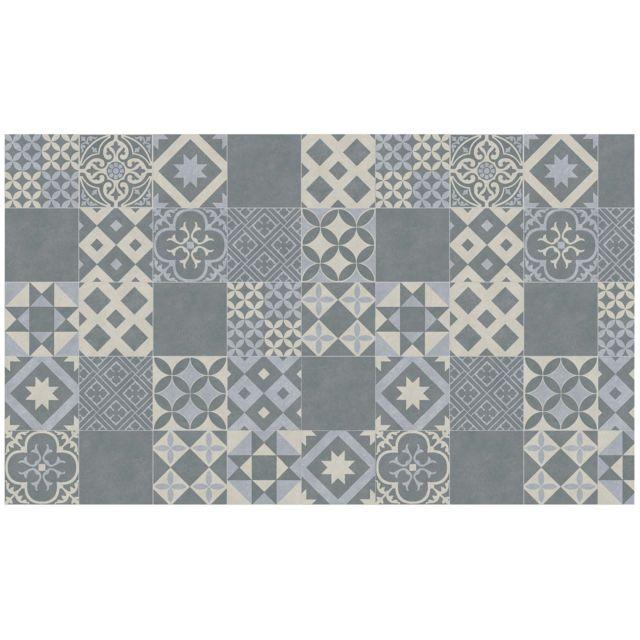 tapis deco cdaffaires tapis rectangle 100 x 170 cm vinyle marbella bleu - Tapis Deco