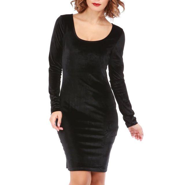 151af91f806 Lamodeuse - Robe noire en velours manches longues - pas cher Achat ...
