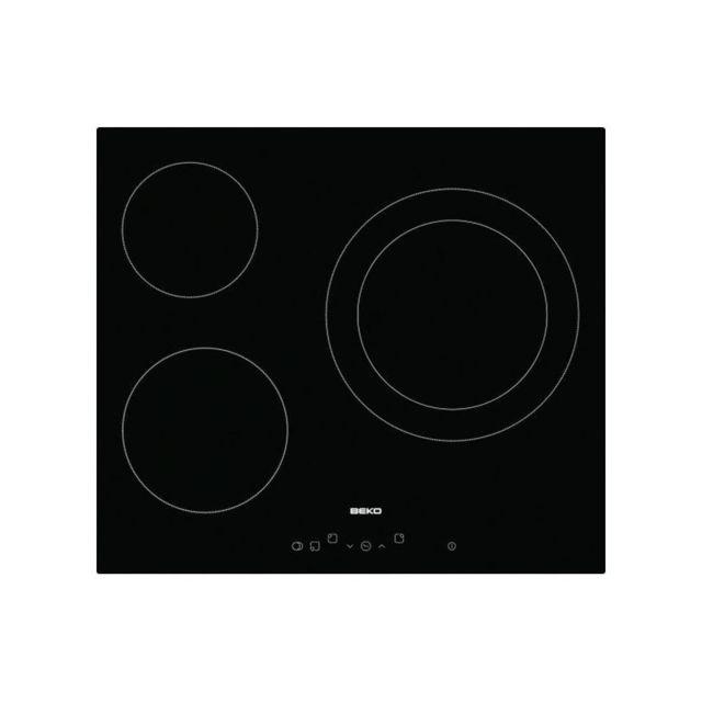 check-out 9c1bc fa440 Plaques vitro-céramiques Hic 63401 T 60 cm Noir 3 zones de cuisson