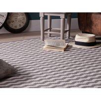 Kaligrafik - Tapis 100% coton écru tissé main zigzag gris et blanc Candelas