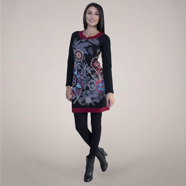 Coton Du Monde - Robe ethnique pensée noir taille - pas cher Achat   Vente  Robes - RueDuCommerce a4b8b638953
