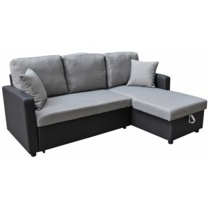 habitat et jardin canap d 39 angle tissu convertible allen 4 places gris et noir achat. Black Bedroom Furniture Sets. Home Design Ideas