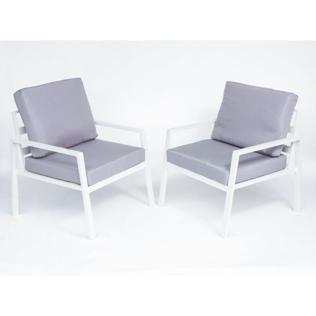 Salon de jardin Coloris blanc et gris en aluminium / polyester