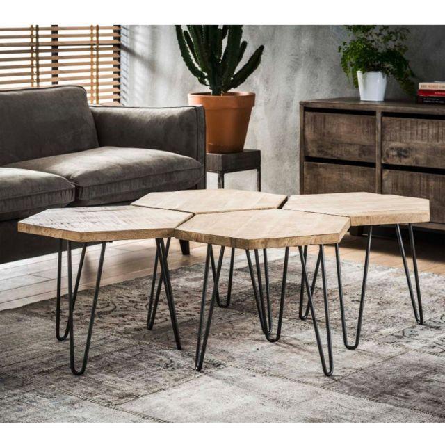 Inside 75 Lot de 4 tables basses design industriel Hexa en bois massif blanc