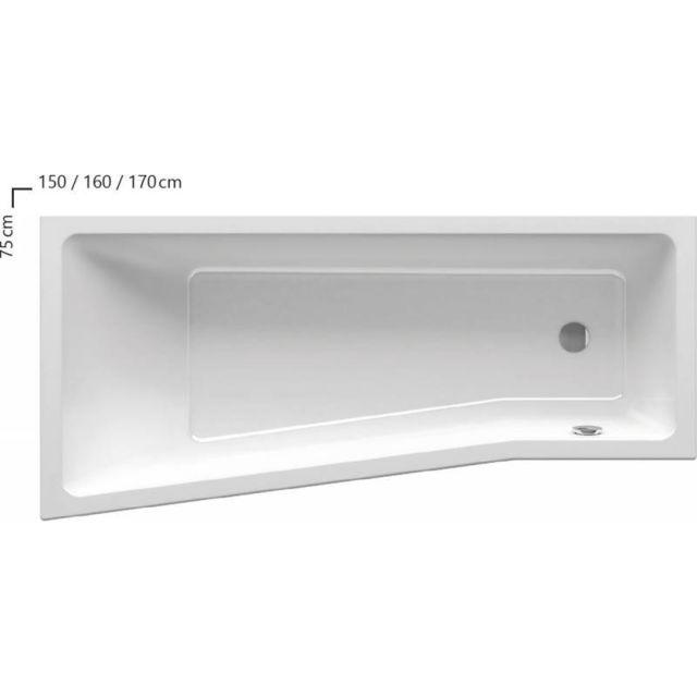 Ravak baignoire douche asym trique gain de place behappy ii 150 160 170 150 droite sans - Baignoire douche asymetrique ...