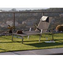 Ermanno G - Bain de soleil en aluminium brossé et polyester enduit noir multiposition longueur 169cm Eleganza