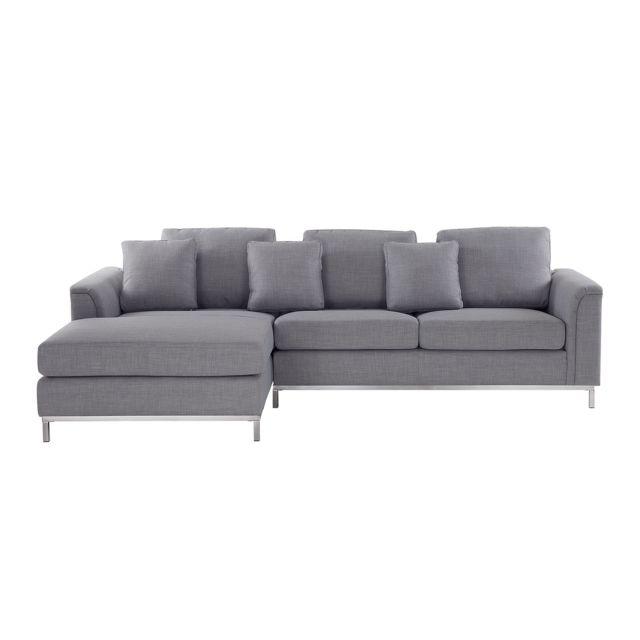 BELIANI Canapé d'angle à droite en tissu gris clair OSLO