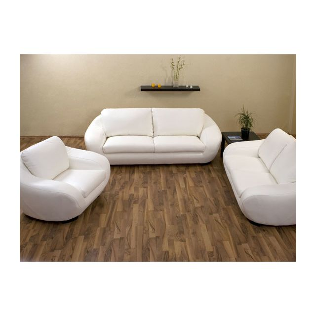 habitat et jardin canap cuir boo 3 places 2 places 1 fauteuil blanc pas cher achat. Black Bedroom Furniture Sets. Home Design Ideas
