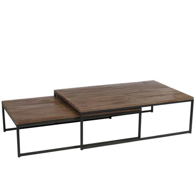 J-line Set de 2 tables gigognes bois brut et métal noir