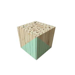the concept factory tabouret carr en bois vert d 39 eau pas cher achat vente tabourets. Black Bedroom Furniture Sets. Home Design Ideas