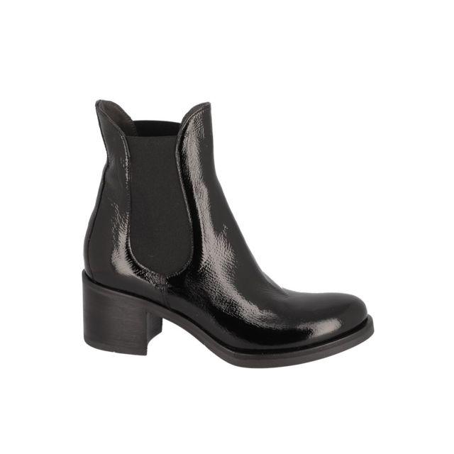 Fru.IT Boots vernis élastique cheville Noir