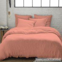 Selene Et Gaia - Parure housse de couette lin lavé rose poudré féminin - Lin Blush Couleur - Blush, Taille - Housse 200x200 + 2 taies 64x64