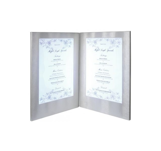 Securit Carte Menu Led Coloris argent 2 A4