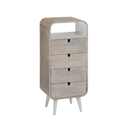 Commode 4 tiroirs 40x30x90cm - naturel