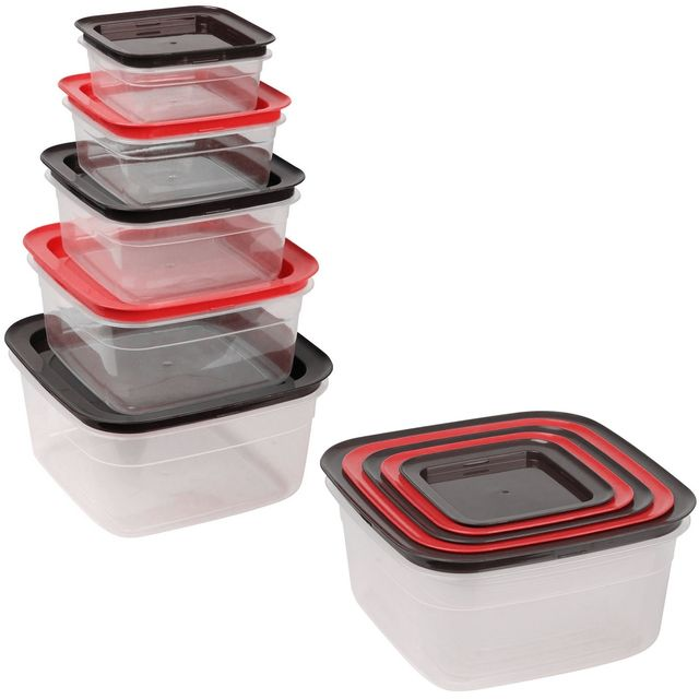Promobo Ensemble Lot 5 Boîtes De Conservation Alimentaires Hermétiques Rangement Malin Encastrable Carrée Rouge