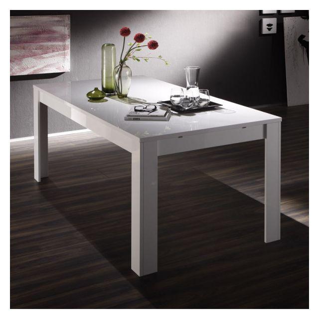 Dansmamaison Table de repas à allonge laqué Blanc - Fatisca - L 137 / 185 x l 90 x H 79 cm