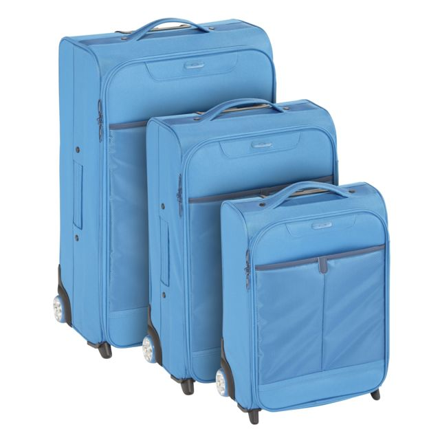 CARREFOUR - COLORS - Lot de 3 valises Polyester - 2 roues - Bleu -2516112