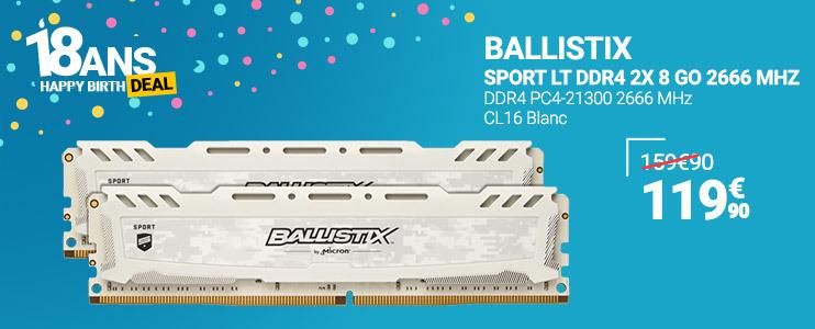 BALLISTIX Sport LT DDR4 2x 8 Go 2666 MHz
