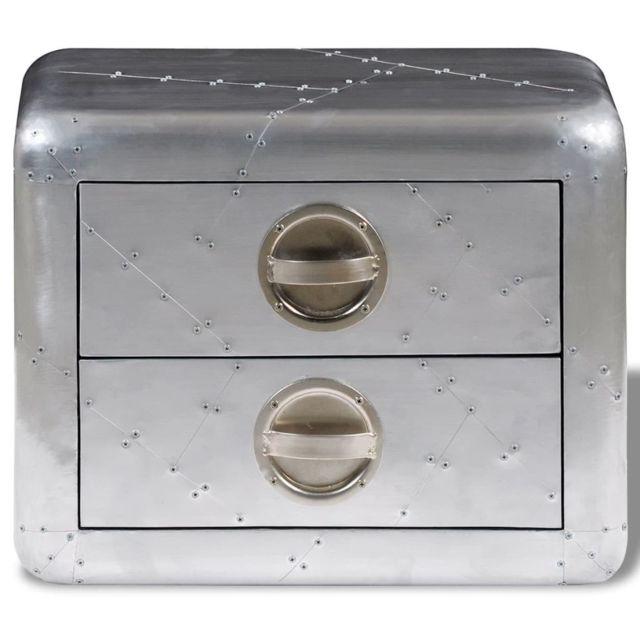 Icaverne - Bouts de canapé gamme Table de coin avec 2 tiroirs vintage Style d'aviation