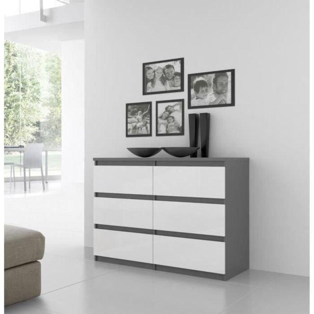 Icaverne COMMODE DE CHAMBRE Commode de chambre NATTI style contemporain gris mat et blanc brillant - L 110 cm